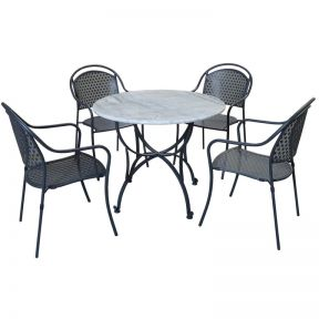 FP Collection Marble Outdoor Dining Setting