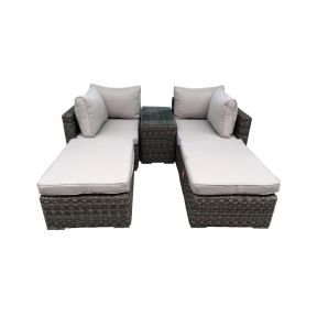 FP Collection Patio Outdoor 2 Seater Sun Lounge Setting