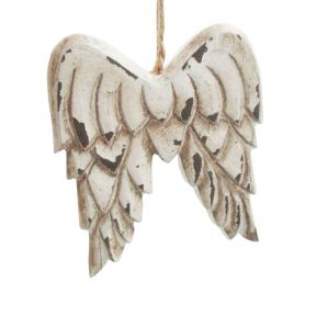 FP Collection Christmas Hanging Ornament Resin Wings White