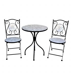 FP Collection Eden Outdoor 2 Seater Balcony Setting White