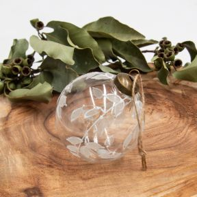 FP Collection Christmas Hanging Glass Ornament White Leaf