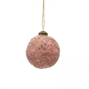 FP Collection Christmas Hanging Glass Ornament Galaxy Pink