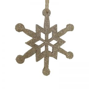 FP Collection Christmas Hanging Ornament Snowflake Champagne
