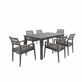 FP Collection Palm Cove Outdoor 6 Seater Dining Black