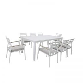 FP Collection Palm Cove Outdoor 8 Seater Dining White