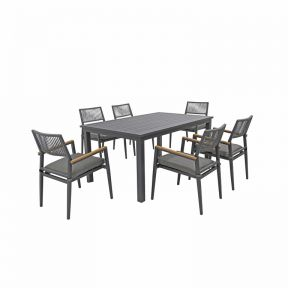 FP Collection Palm Cove Outdoor 6 Seater Dining Rope Black