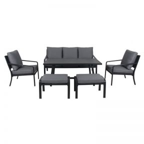 FP Collection Byron Outdoor Lounge/Dining Setting Charcoal
