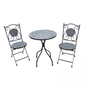 FP Collection Eden Outdoor 2 Seater Balcony Setting Black