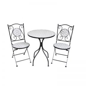FP Collection Elly Outdoor 2 Seater Balcony Setting White
