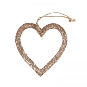 FP Collection Christmas Hanging Bauble Glitter Heart Champagne