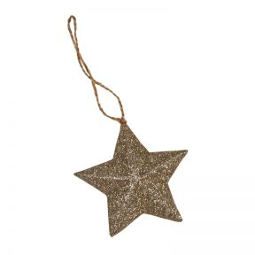 FP Collection Christmas Hanging Bauble Glitter Star Champagne