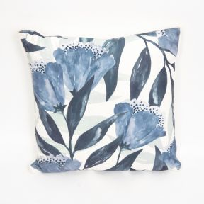 Madras Link Drop Flower Blue Cushion