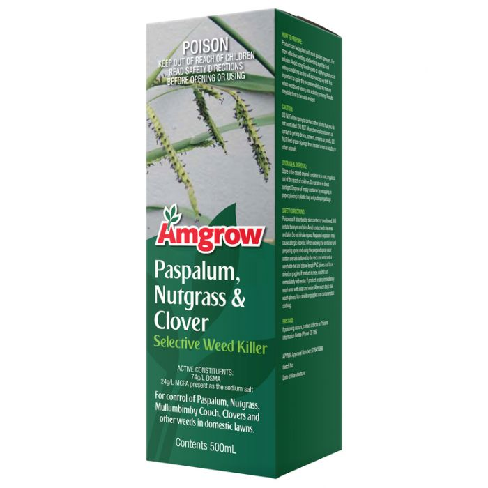 Amgrow Paspalum, Nutgrass & Clover Selective Weed Killer 500ml  No] 9310943800423 - Flower Power