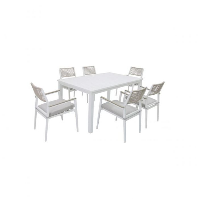 FP Collection Palm Cove Outdoor 6 Seater Dining Rope White  ] 184727 - Flower Power
