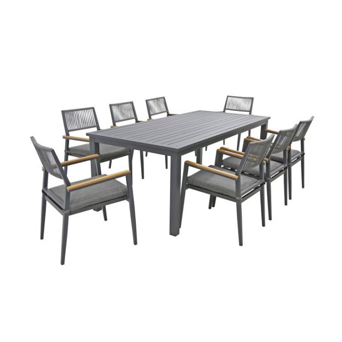 FP Collection Palm Cove Outdoor 8 Seater Dining Rope Black  ] 184730 - Flower Power