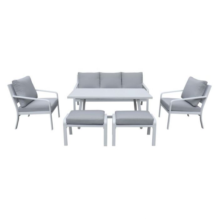FP Collection Byron Outdoor Lounge/Dining Setting White  ] 184739 - Flower Power