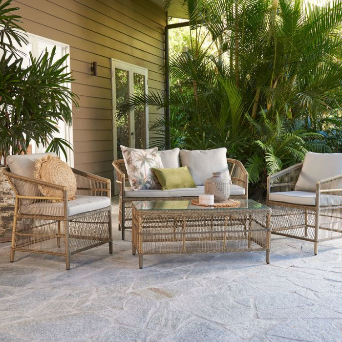FP Collection Malawi Outdoor 4 Seater Lounge Setting Natural  ] 185197 - Flower Power