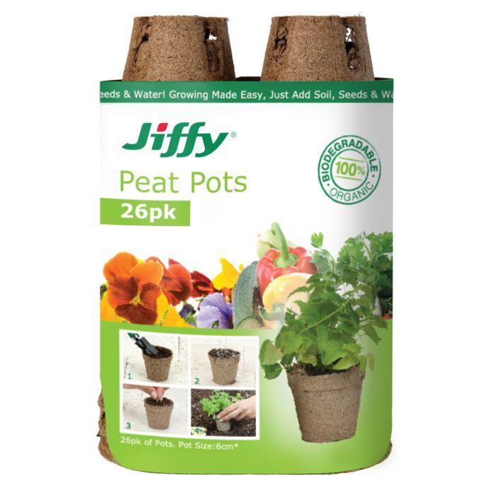 Jiffy - 6cm Peat Pots (26 pots)  ] 33349100452 - Flower Power