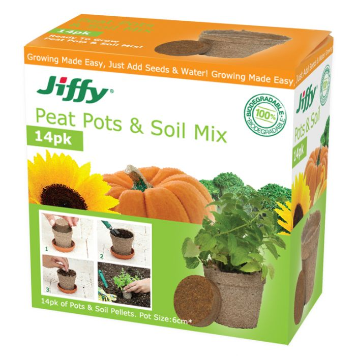 Jiffy - Easy Starter Set - 14 Jiffy pots and compressed pellets  ] 33349100544 - Flower Power