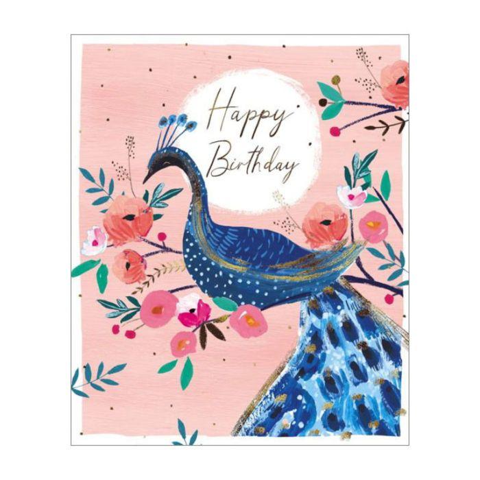 Almanac Gallery Happy Birthday Peacock Card  ] 5015433812705 - Flower Power
