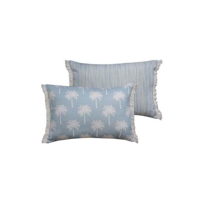Madras Link Tropic Blue Rectangular Cushion  ] 9320947167033 - Flower Power