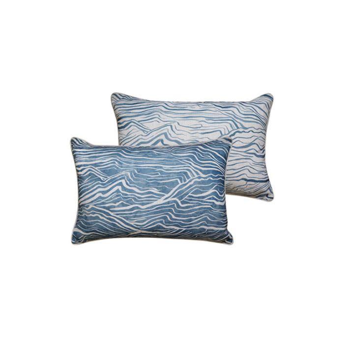 Madras Link Waves Blue Rectangular Cushion  ] 9320947167040 - Flower Power