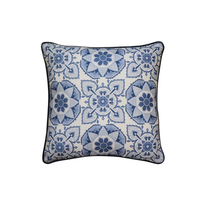 Madras Link Tile Blue Cushion  ] 9320947167088 - Flower Power