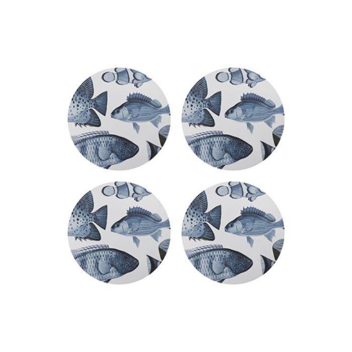 Madras Link Fish Round Coaster Blue  ] 9320947167422 - Flower Power