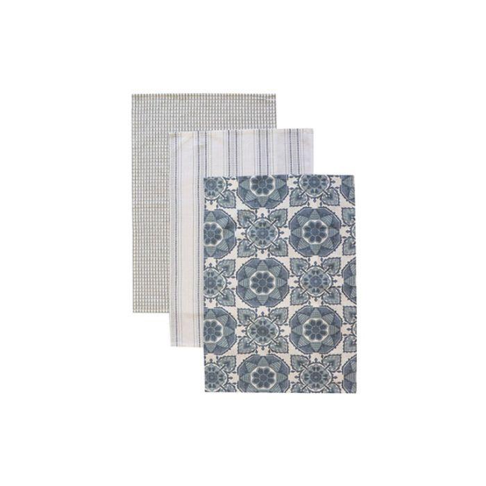 Madras Link Tile Teatowel Blue  ] 9320947167972 - Flower Power