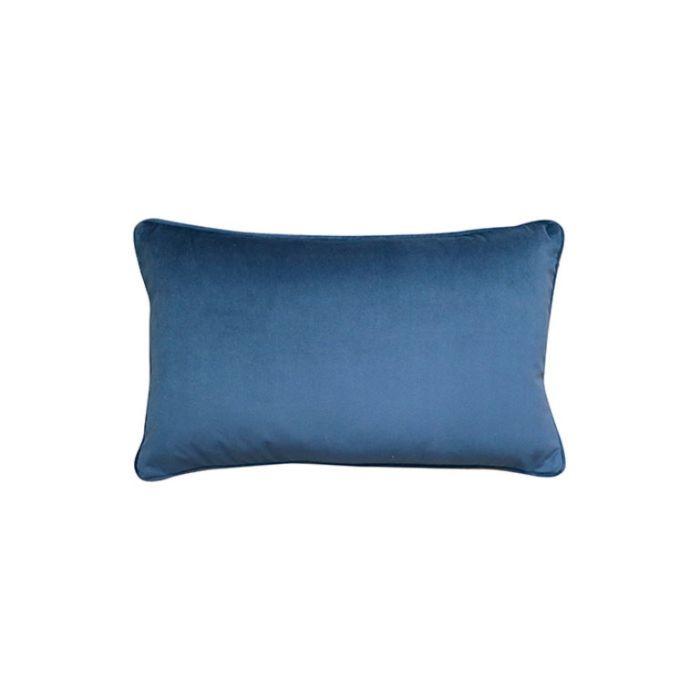 Madras Link Mira Velvet Dark Blue Rectangular Cushion  ] 9320947169198 - Flower Power