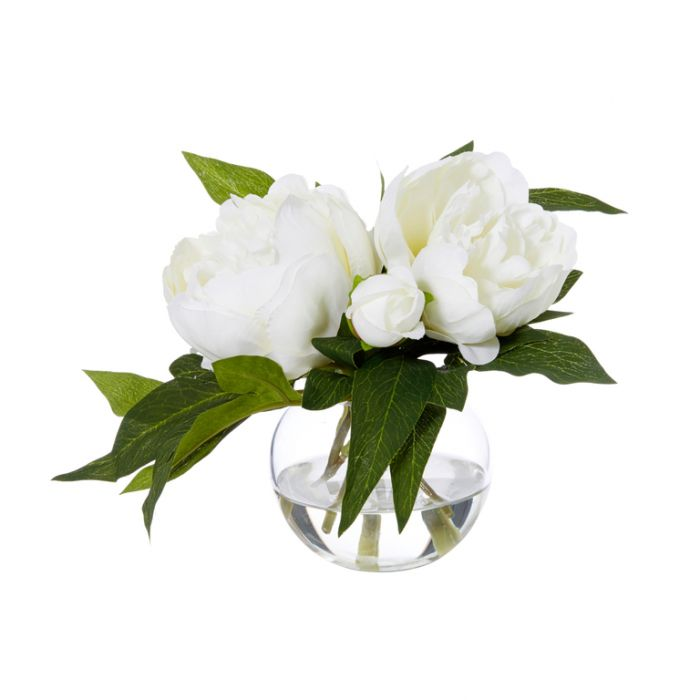 Artificial Peony Sphere Vase White  ] 9331460287337 - Flower Power