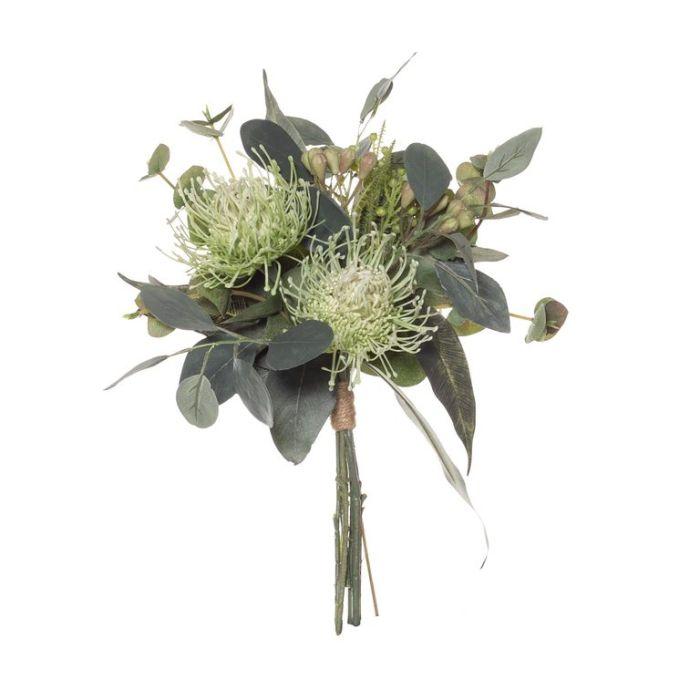 Artificial Pin Cushion Bouquet Mix Green  ] 9331460320386 - Flower Power