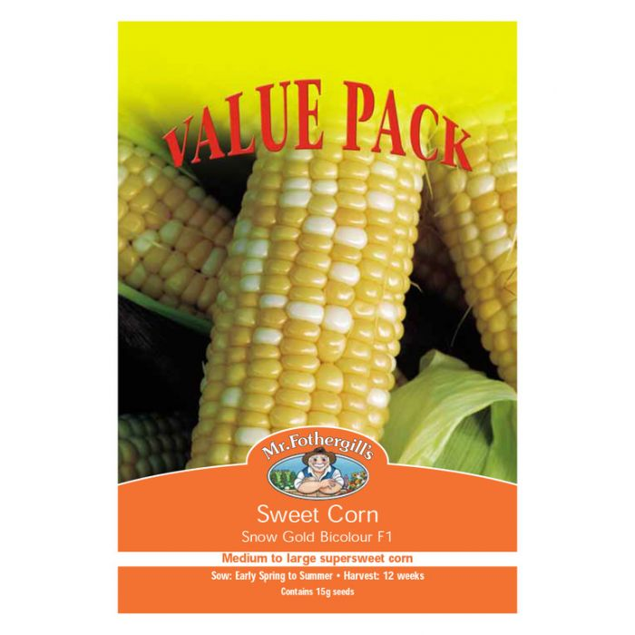 Mr Fothergill S Sweet Corn Snow Gold Bicolour F1 Value Pack