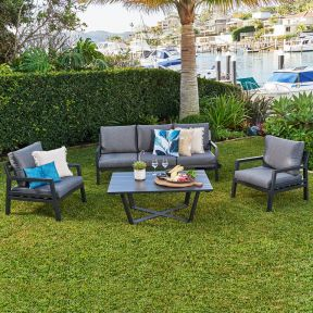 FP Collection Lagoon Outdoor Lounge Setting Black