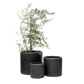 FP Collection Newport Cylinder Pot Black  ] 177614P - Flower Power