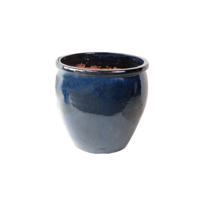 FP Collection Glazed Round Pot With Lip Blue  ] 142806P - Flower Power