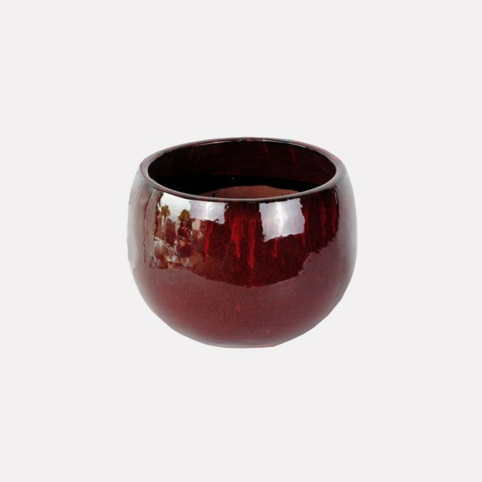 FP Collection Glazed Bowl Pot Red  ] 143602P - Flower Power