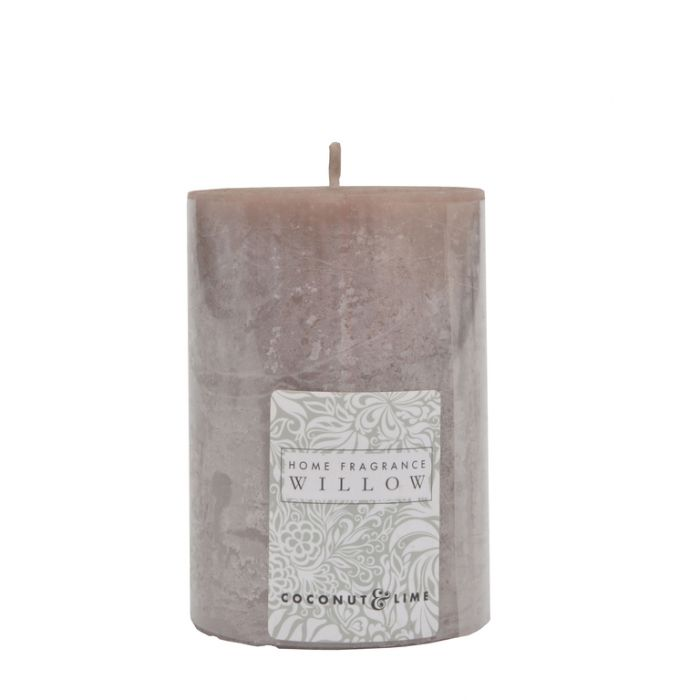 FP Collection Willow Coconut & Lime Pillar 300g Candle Grey  ] 175414P - Flower Power