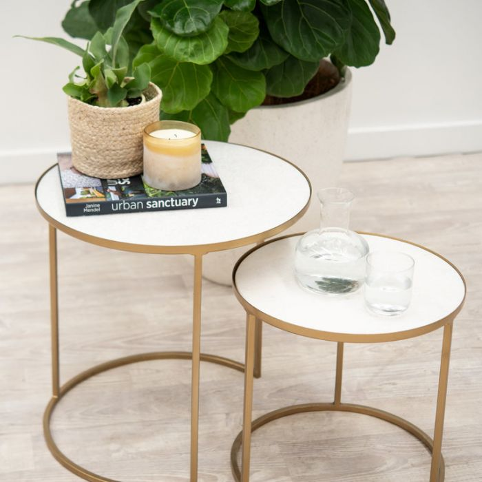 FP Collection Luxe Marble Side Table  ] 180134P - Flower Power