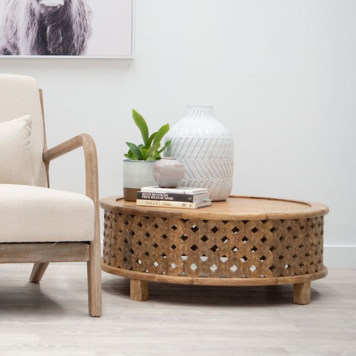 FP Collection Indra Carved Coffee Table  ] 180204 - Flower Power