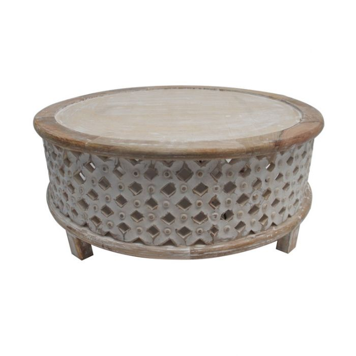 FP Collection Indra Carved Coffee Table White  ] 180205 - Flower Power