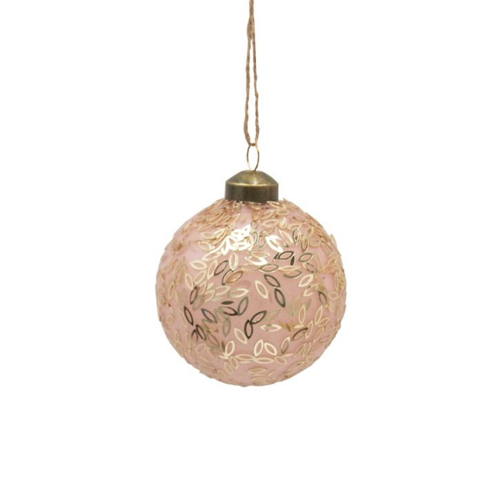 FP Collection Christmas Hanging Glass Ornament Leaves Pink  ] 181491 - Flower Power