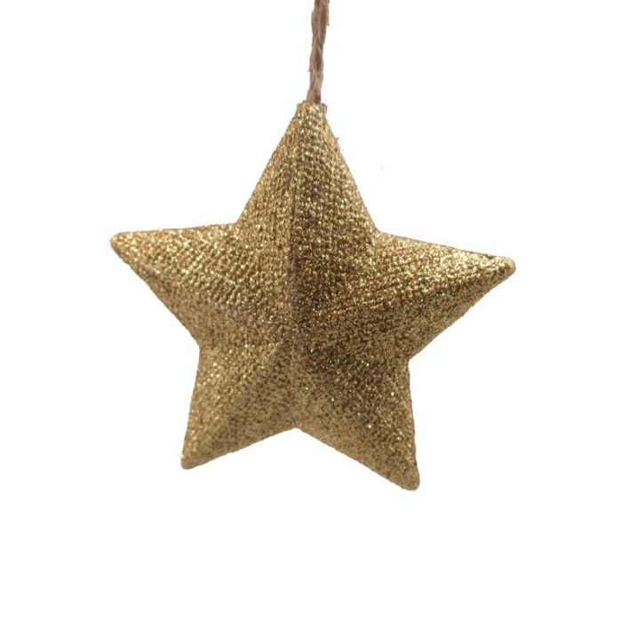 FP Collection Christmas Hanging Ornament Glitter Star Gold  ] 181514 - Flower Power