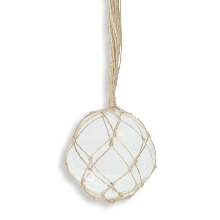 Coastal Christmas Glass Jute Bauble Clear                                    ] 183127 - Flower Power