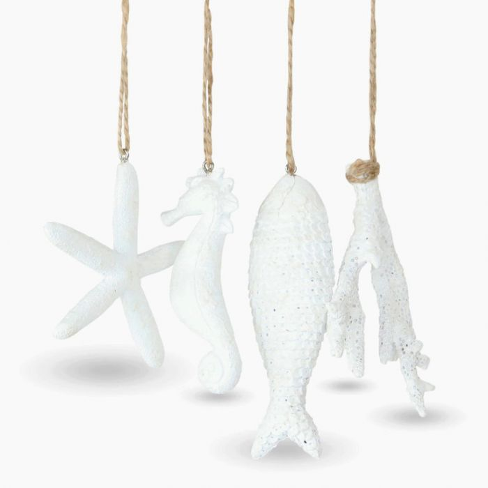 Coastal Christmas Hanging Ornament Textured White Set of 4  ] 183128 - Flower Power