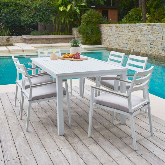 FP Collection Palm Cove Outdoor 6 Seater Dining White  ] 184723 - Flower Power