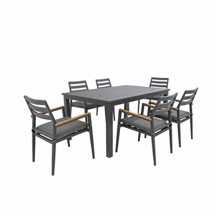 FP Collection Palm Cove Outdoor 6 Seater Dining Black  ] 184724 - Flower Power