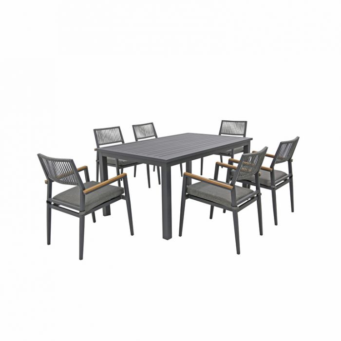 FP Collection Palm Cove Outdoor 6 Seater Dining Rope Black  ] 184728 - Flower Power