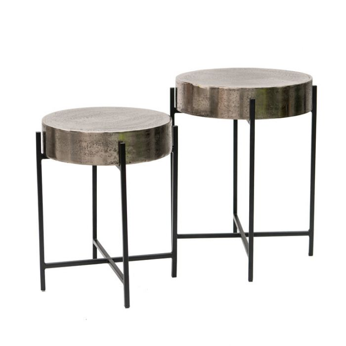 FP Collection Abel Side Table Nickel  ] 184888P - Flower Power