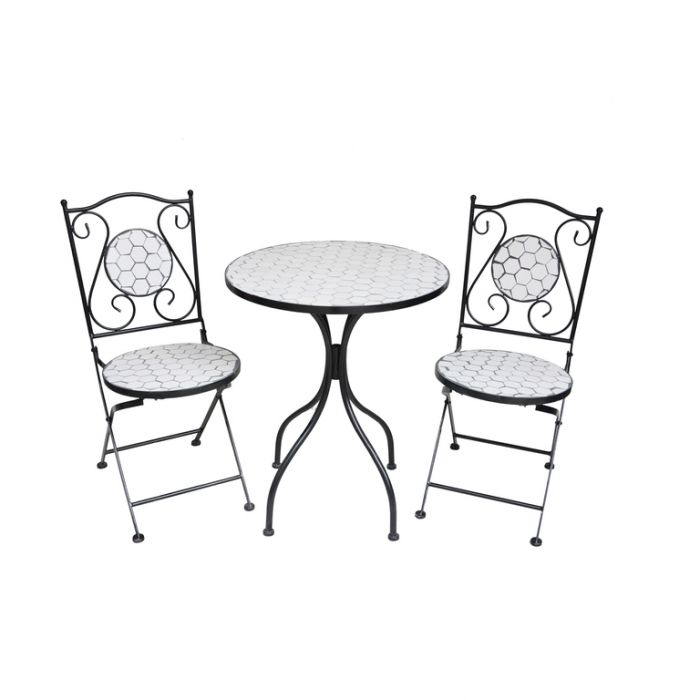 FP Collection Elly Outdoor 2 Seater Balcony Setting White  ] 184996 - Flower Power